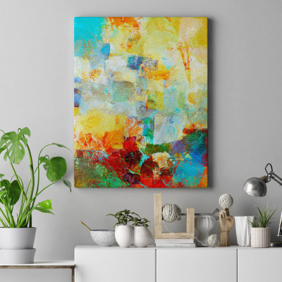 Quadro Decorativo Pintura Abstrata Pinceladas Coloridas - Em Canvas