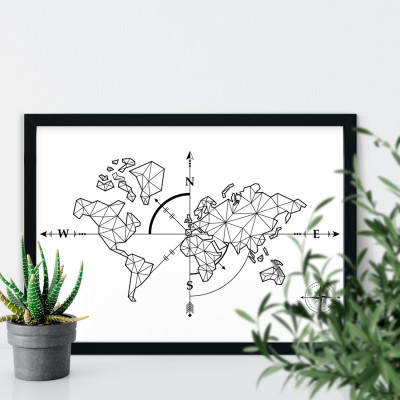 Quadro Decorativo Mapa Mundi Rosa dos Ventos
