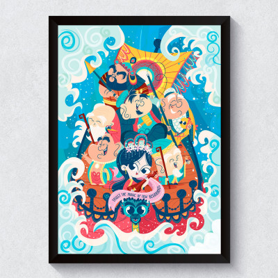 Quadro Decorativo Shichi Fukujin - 7 Deuses da Sorte