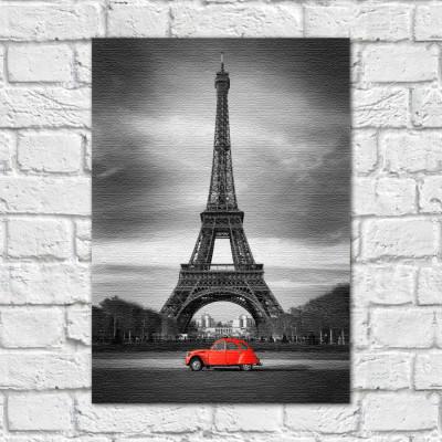 Quadro Decorativo Torre Eiffel Destaque Vermelho - Em Canvas