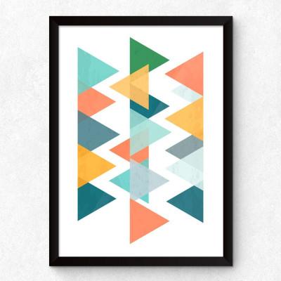 Quadro Decorativo Triângulos Abstratos Coloridos
