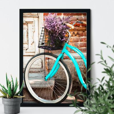 Quadro Decorativo Bicicleta Retrô Azul Cestinha Lavanda