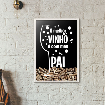 Quadro Porta Rolhas de Vinho - Taça de Vinho - Amarelo