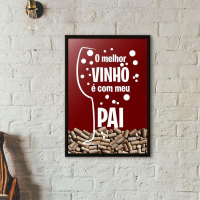 Quadro Porta Rolhas de Vinho - Paizão Elemento Nobre (Moldura Preta)