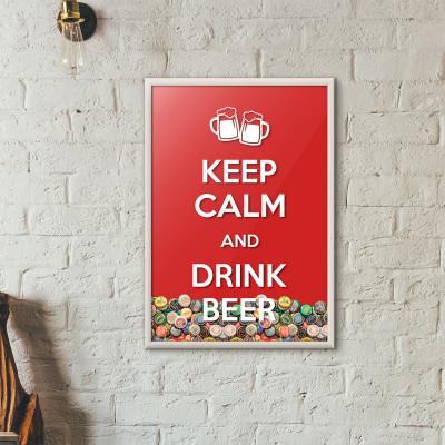 """Quadro Porta Tampinhas de Cerveja - """"Keep Calm And Drink Beer"""" (Moldura Branca)"""