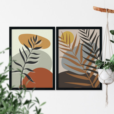 Conjunto de Quadros Decorativos Folhas Botânicas