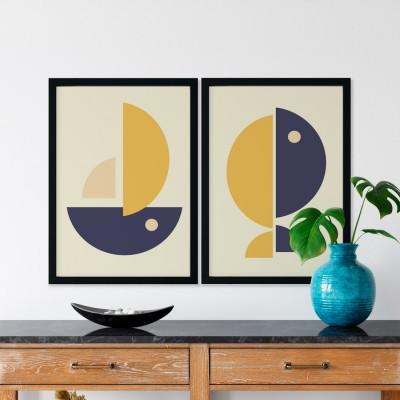 Conjunto de Quadros Decorativos com Imagem de desenho Costela de Adão Formas Cores