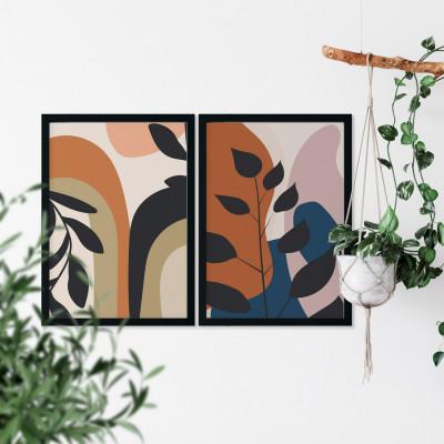 Conjunto de Quadros Decorativos Abstratos Folhas Botânicas