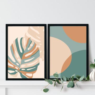 Conjunto de Quadros Decorativos Plantas Abstratas