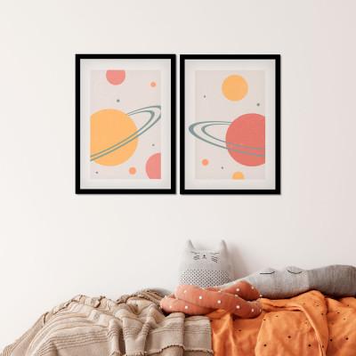 Conjunto de Quadros Decorativos Arte Abstrata Colorida