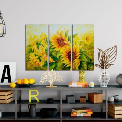 Conjunto de Quadros Decorativos Girassóis - Em Canvas