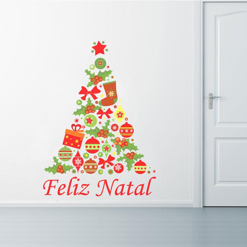 decoracao de arvore de natal tradicional: de Parede Árvore de Natal Tradicional