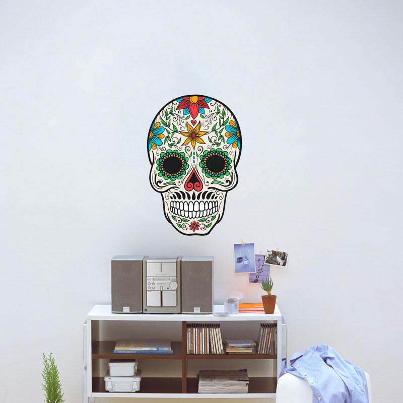 Adesivo de Parede Caveira Mexicana Floral Homem