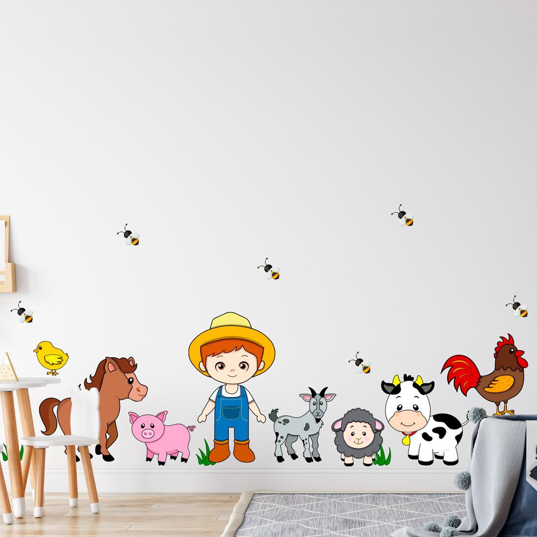 Adesivo de Parede Infantil Fazendinha com Animais