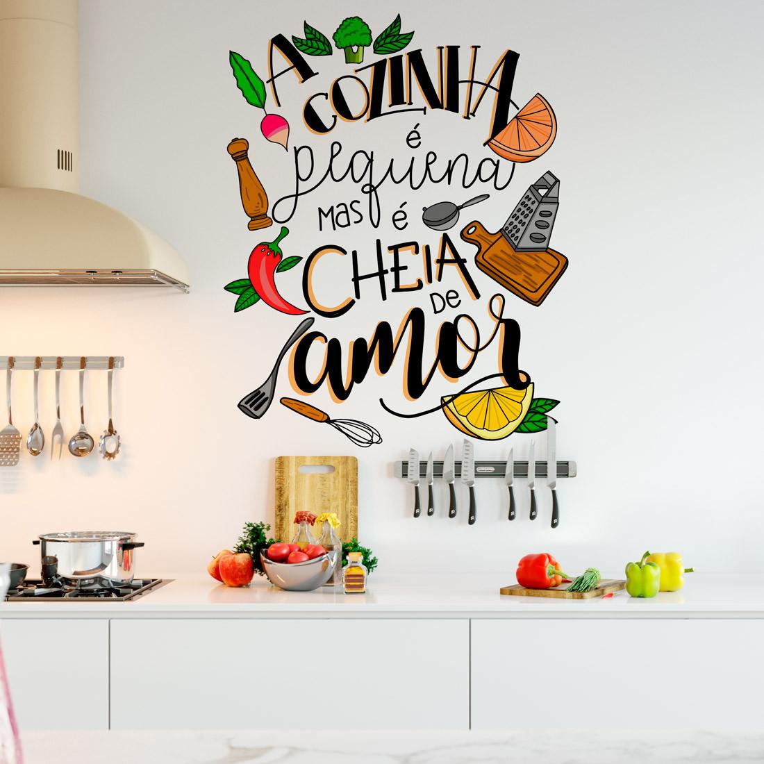 Adesivo de Parede Lettering Amor pela Cozinha
