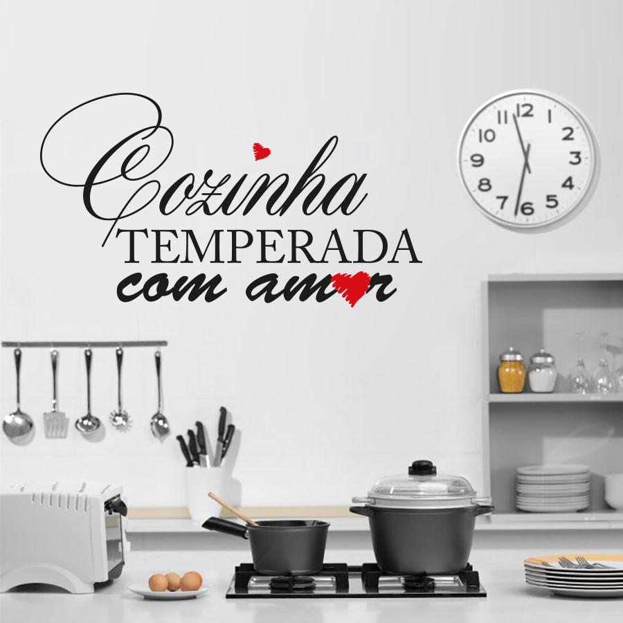 Adesivo de Parede Cozinha Temperada com Amor