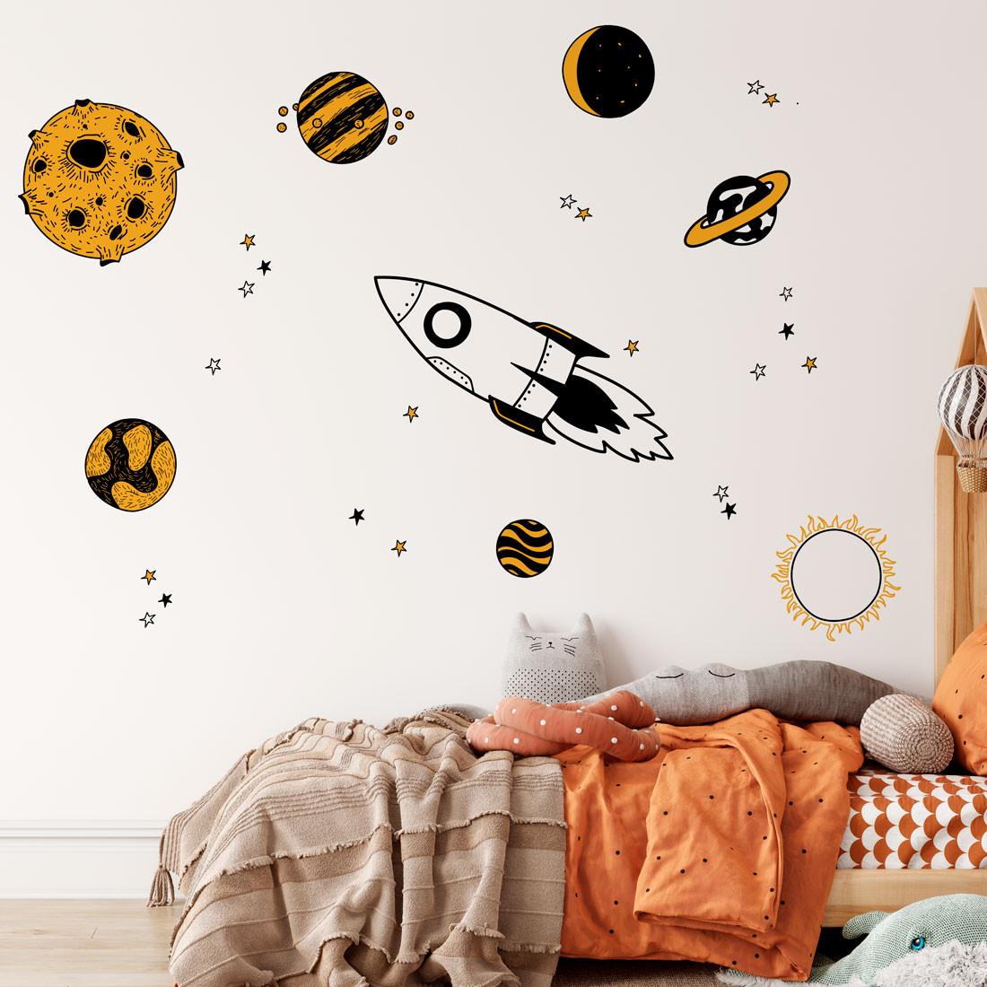 Adesivo de Parede Universo com planetas