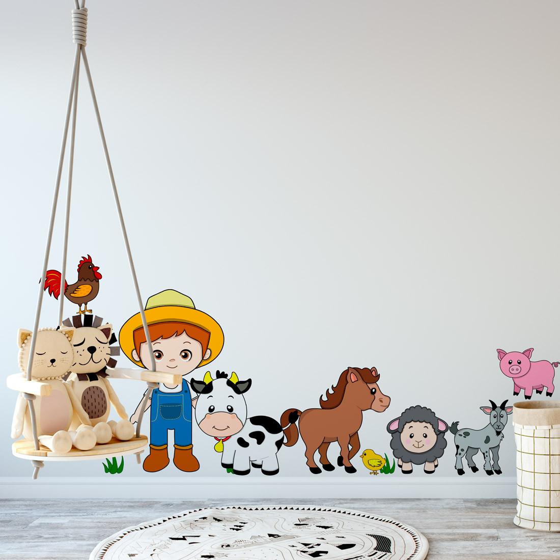 Adesivo de Parede Infantil com Animais na Fazenda