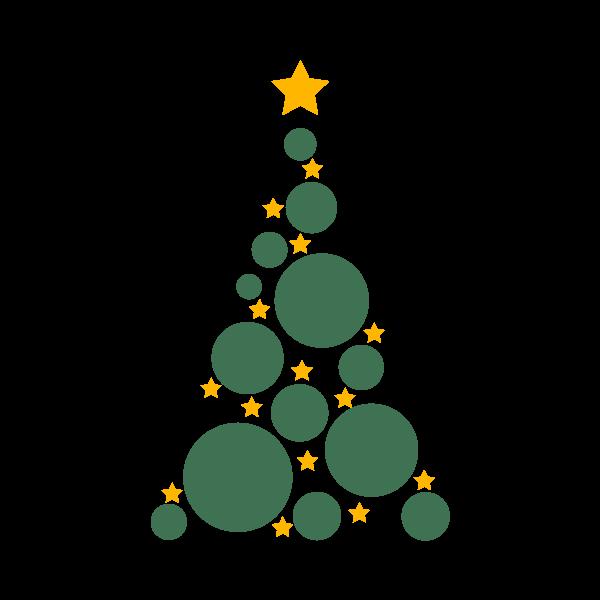 Adesivo de Parede Árvore de Natal Abstrata Estrelas e Bolas