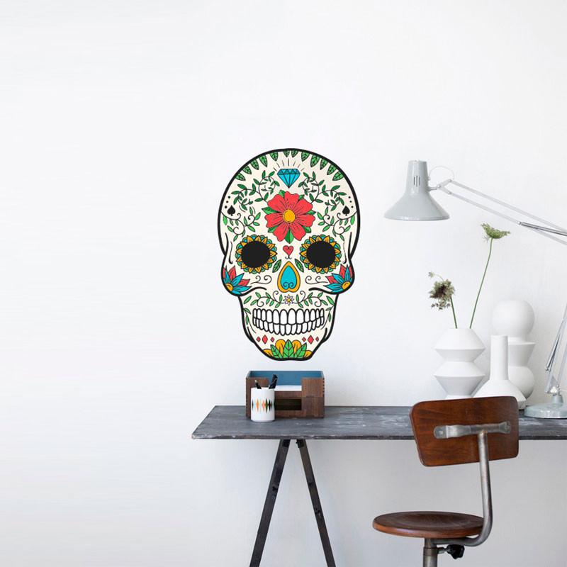 Adesivo de Parede Caveira Mexicana Floral Mulher