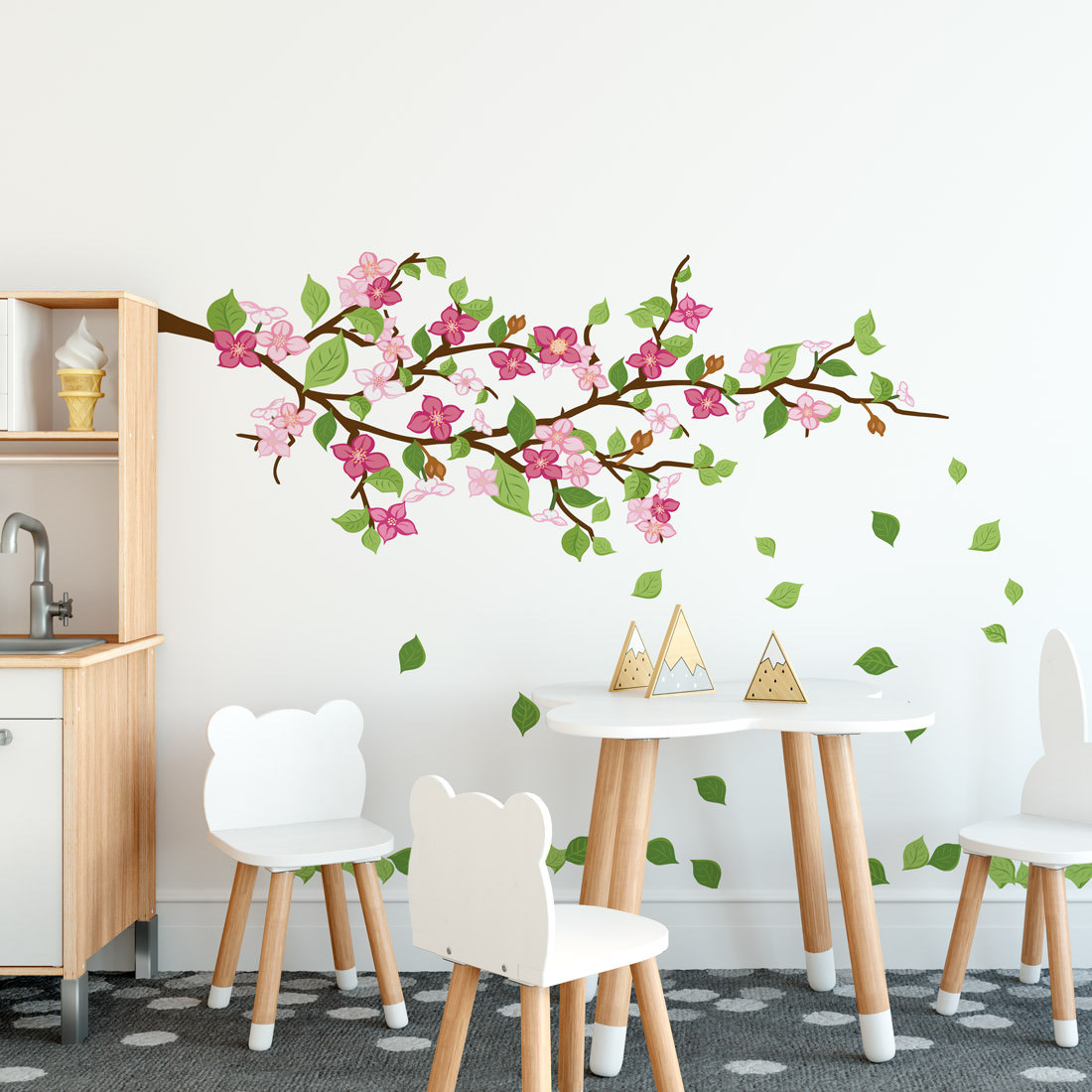 Adesivo de Parede Galho Floral Infantil Rosa