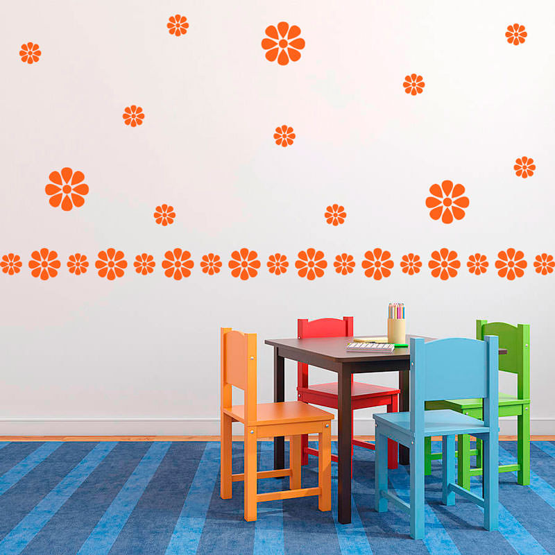 Adesivo de Parede Decorativo Kit de Flores Malmequer