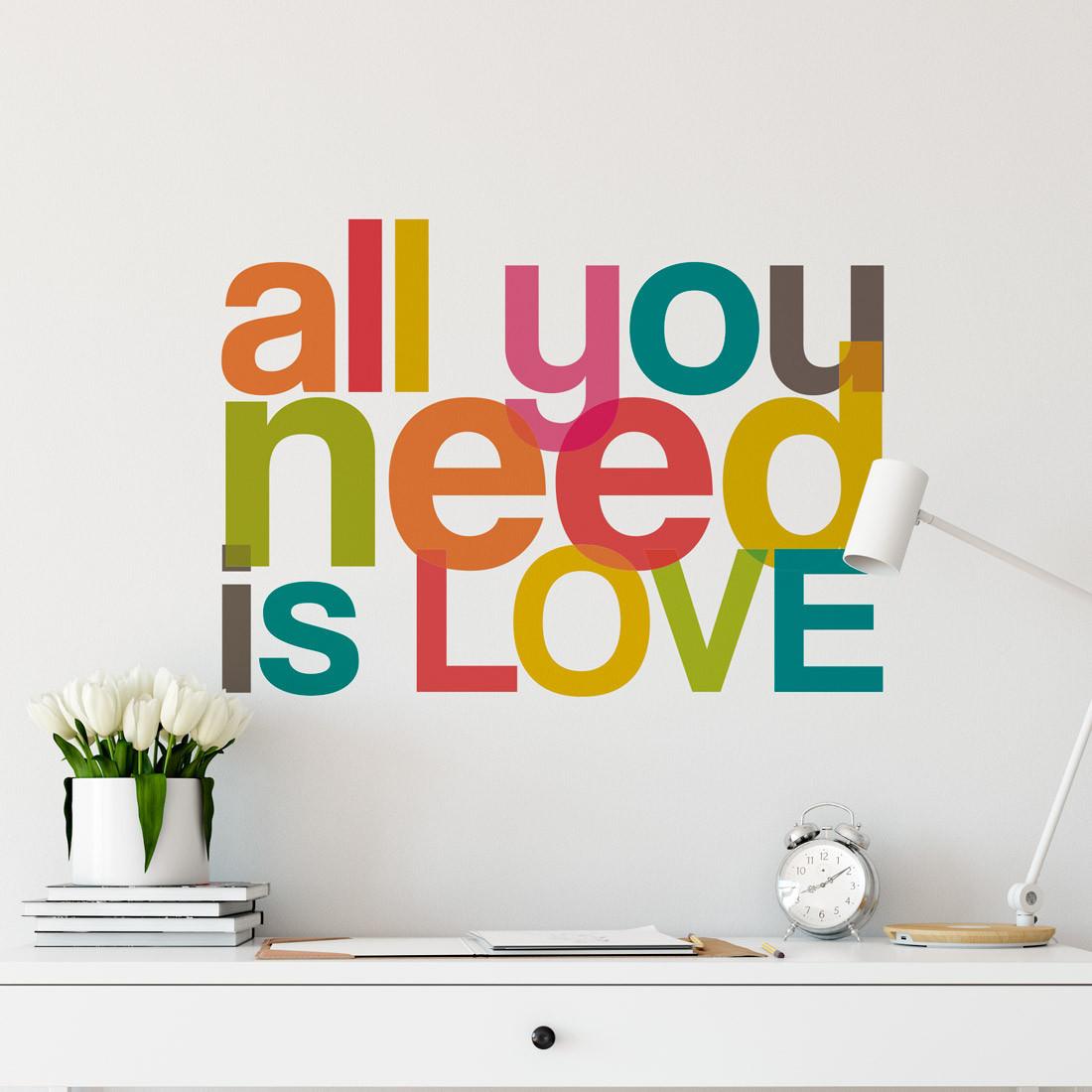 Adesivo Decorativo de Parede decorativo frase All You Need Is Love Colorido