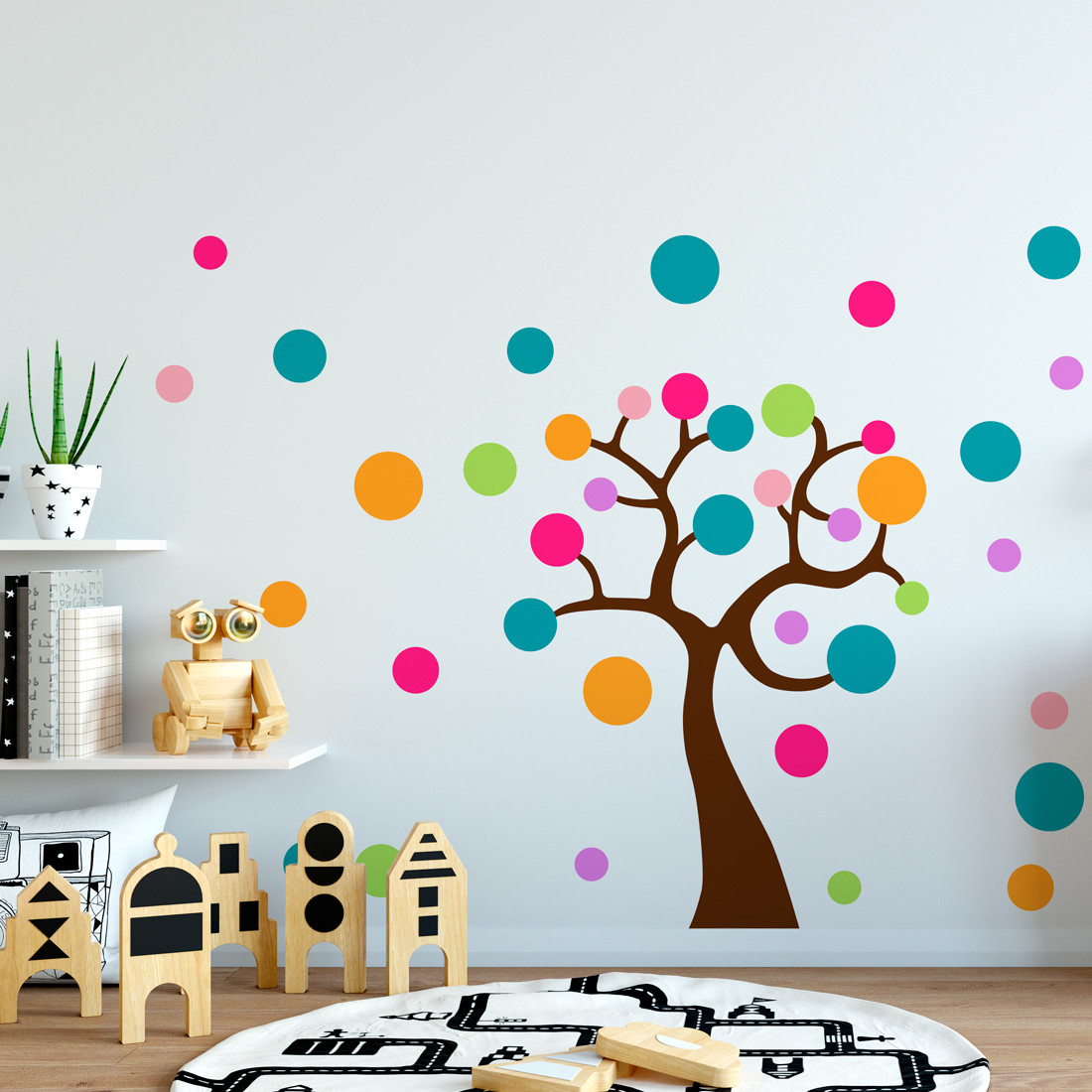 Adesivo de Parede Infantil Árvore de Bolas Coloridas