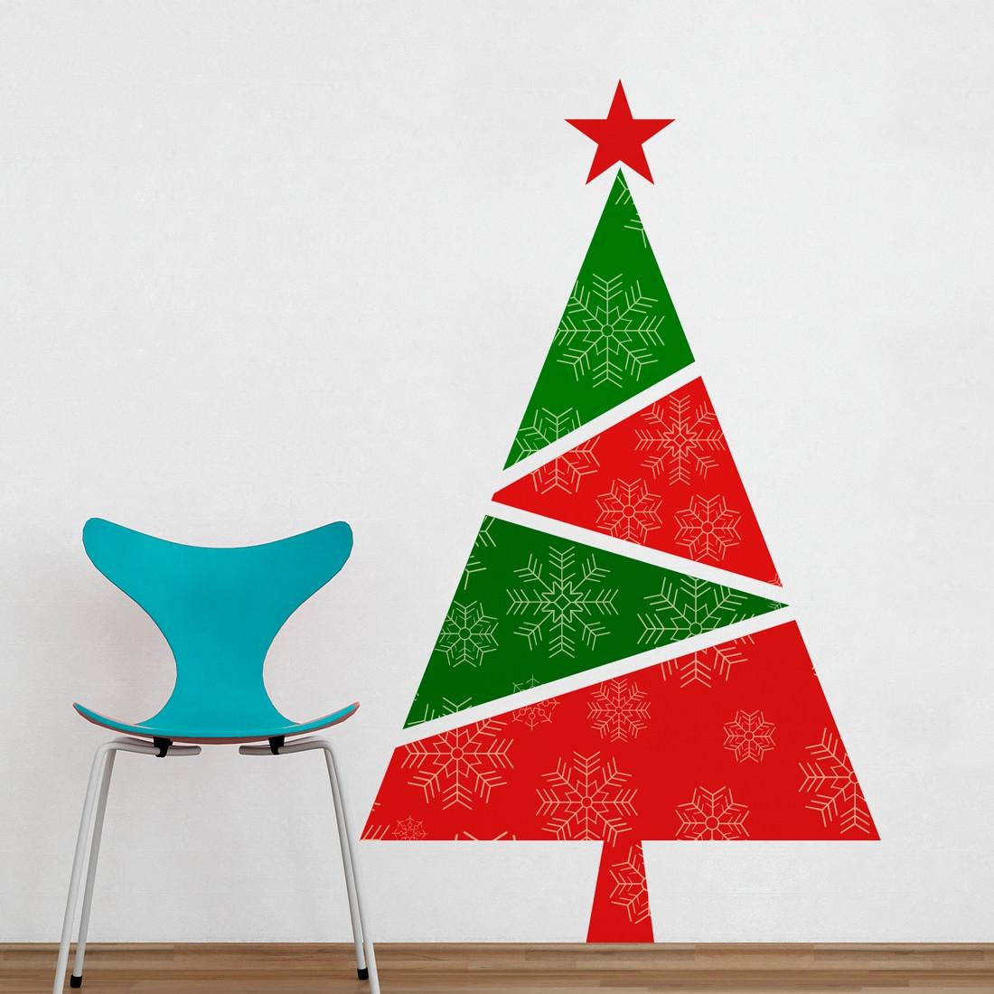 Adesivo de Parede Árvore de Natal Vermelha e Verde