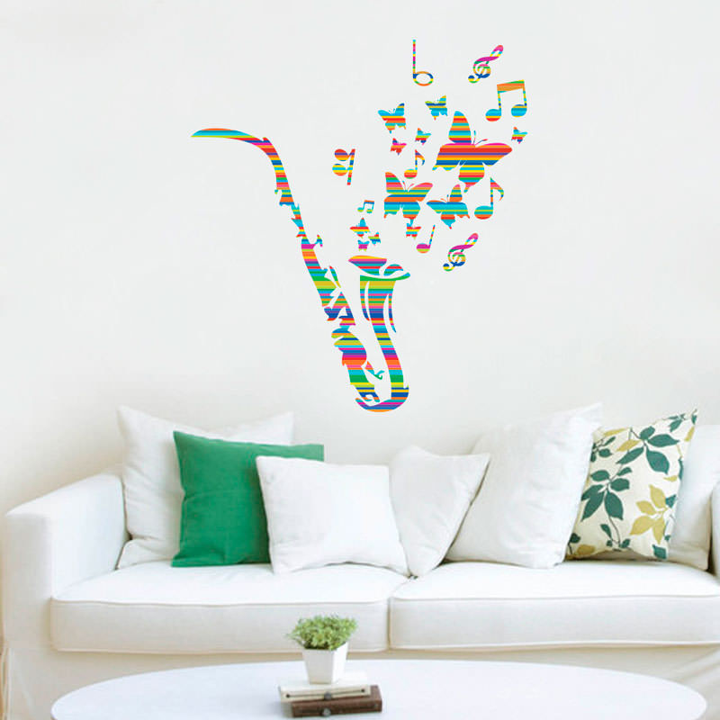Adesivo Decorativo de Parede Saxofone Colorido