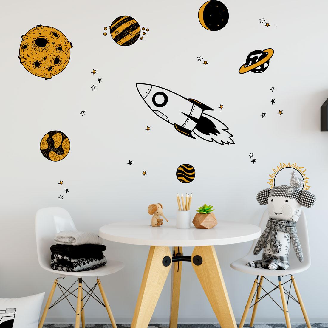 Adesivo de Parede Infantil Foguete Espacial com Planetas