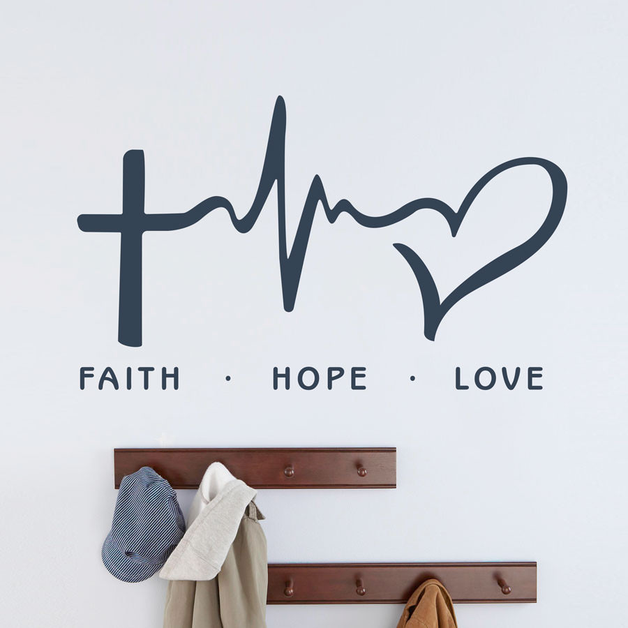 """Adesivo de Parede """"Faith, Hope, Love"""""""