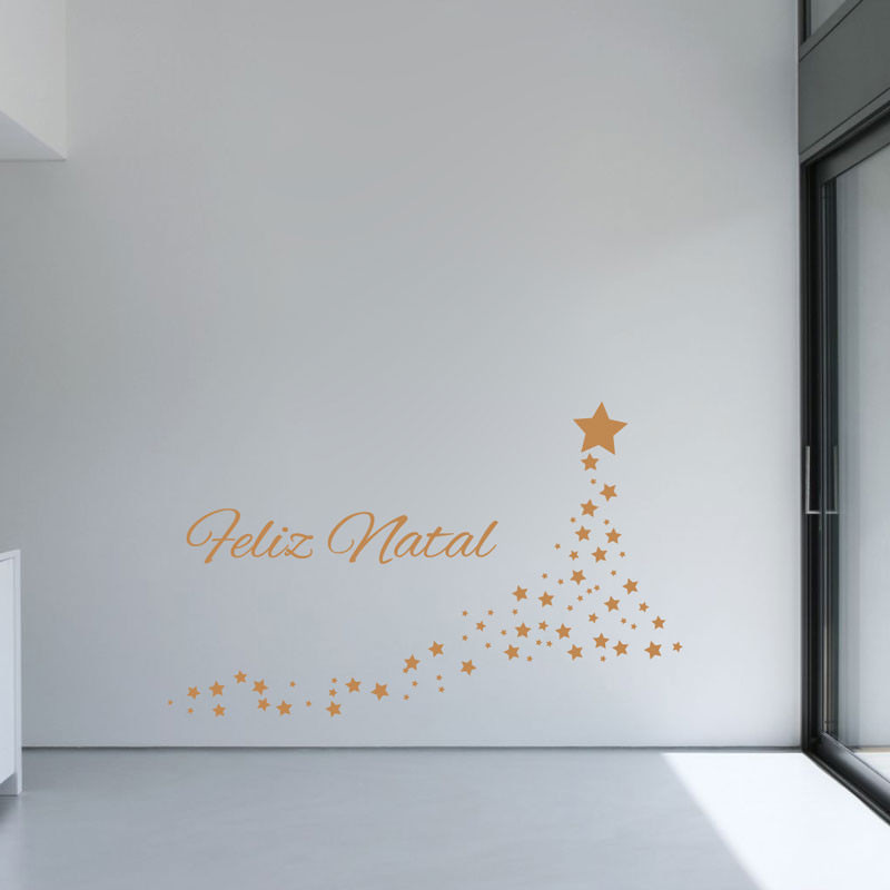 Adesivo de Parede Decorativo Árvore de Estrelas Natalinas