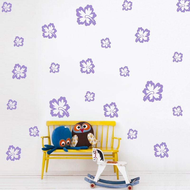 Adesivo de Parede Kit de Flores Hibisco