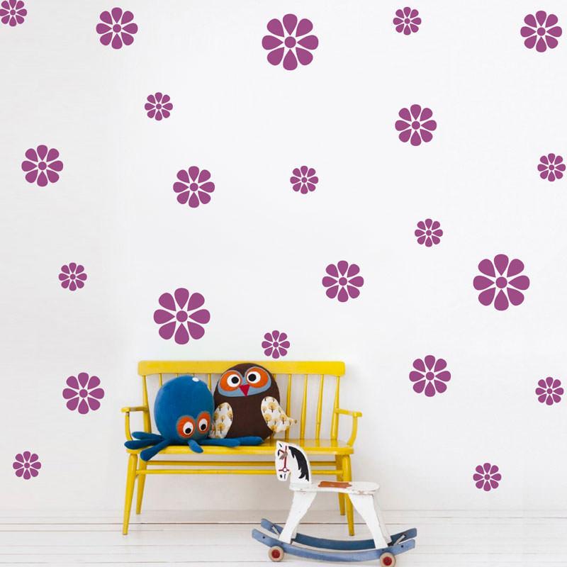 Adesivo De Parede Kit De Flores Malmequer Modelo Exclusivo Bemcolar