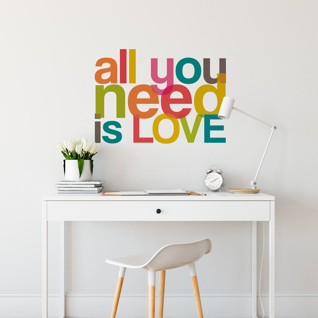 Adesivo Decorativo de Parede frase All You Need Is Love Colorido