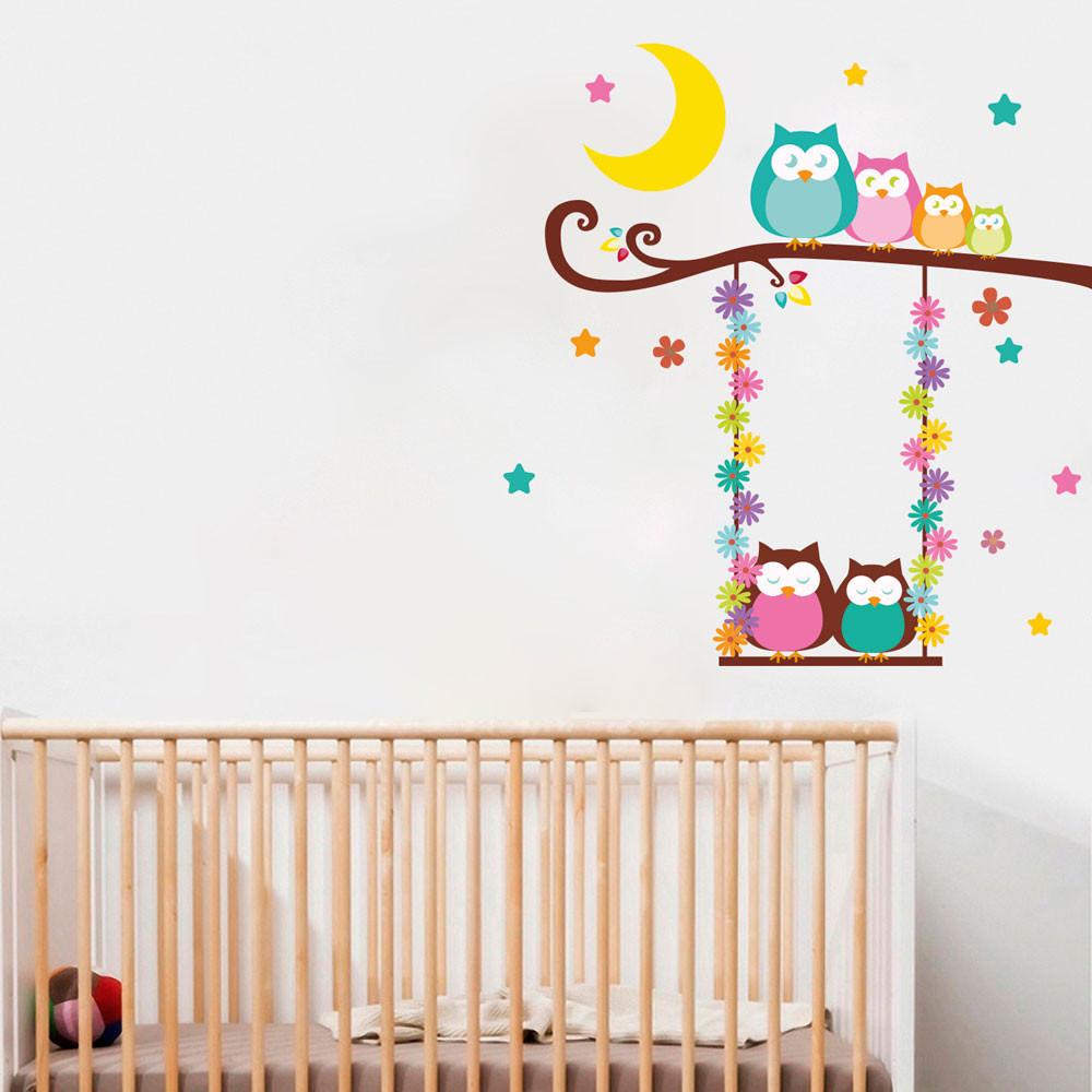 Armario Planejado Para Quarto Casal Pequeno ~ Adesivo de Parede Infantil Corujas bemColar Adesivos De Parede