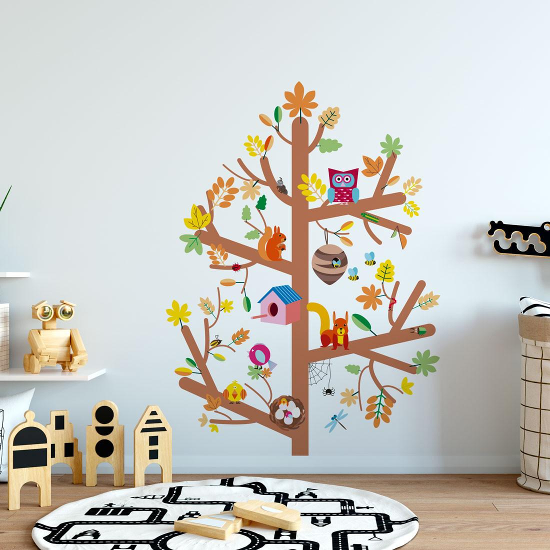Adesivo de Parede Infantil Árvore Com Bichinhos