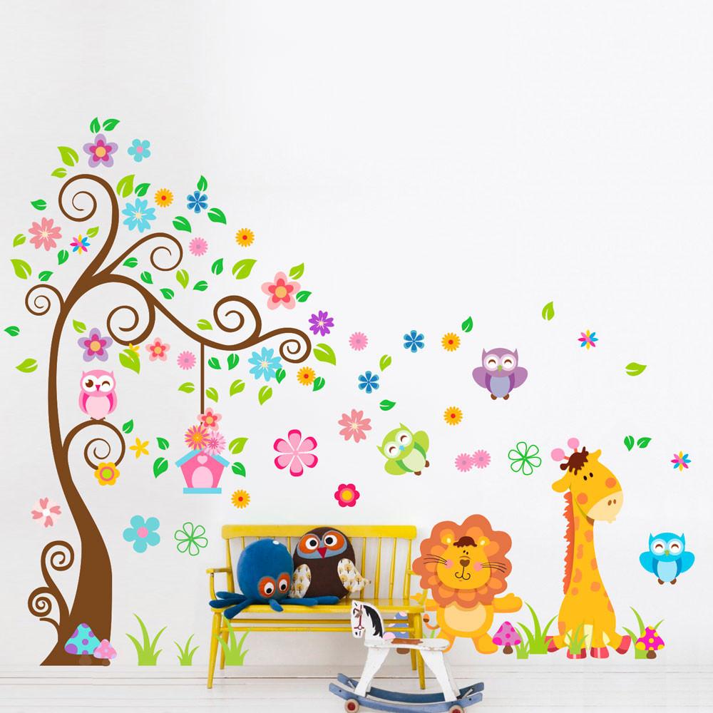 Adesivo de parede infantil rvore e animais bemcolar for Papel decorativo pared infantil