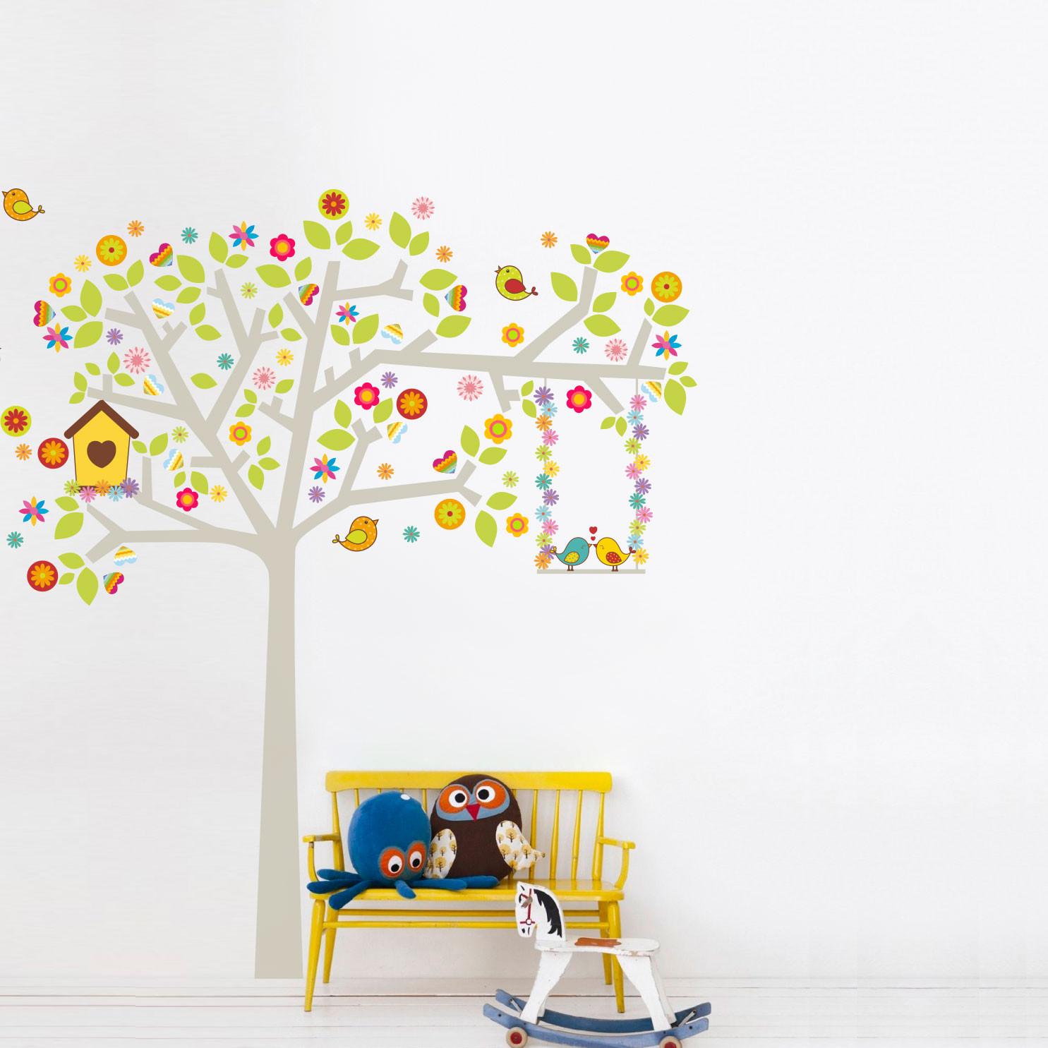 Adesivo de Parede Árvore Pássaros Namorados