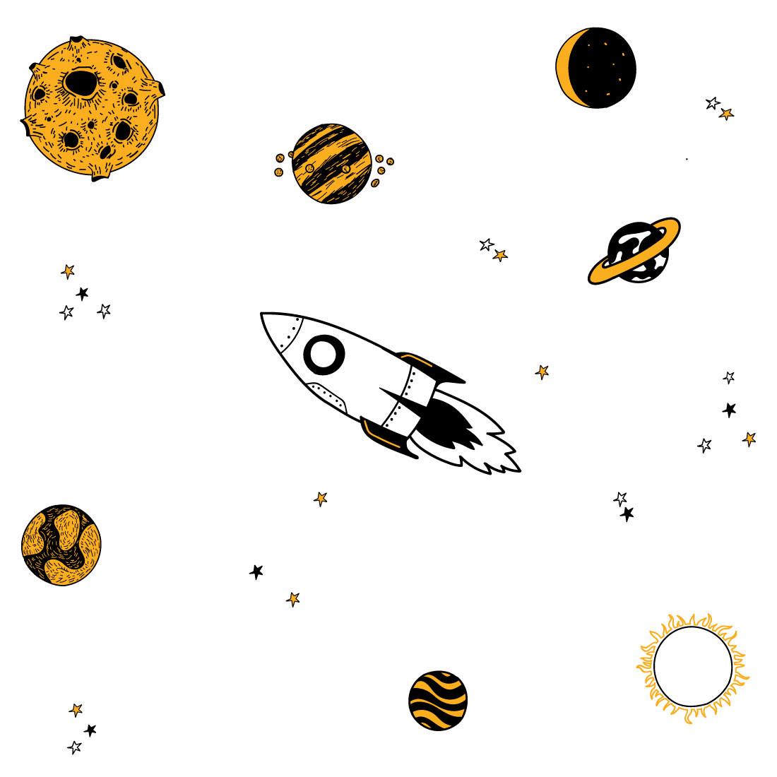 Adesivo de Parede Foguete Espacial com Planetas