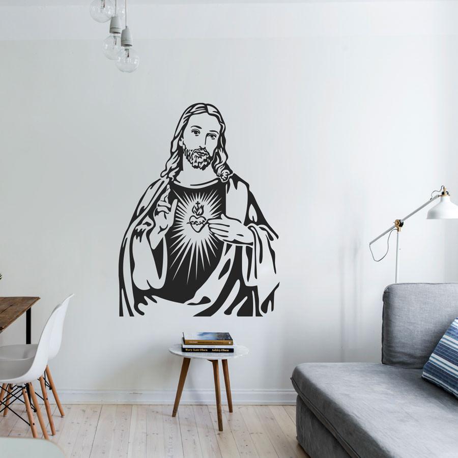 Armario Exterior Segunda Mano ~ Adesivo de Parede Coraç u00e3o de Jesus bemColar Adesivos
