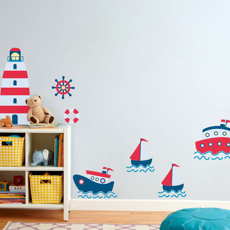 Adesivo Decorativo Barcos e Farol Marinheiros