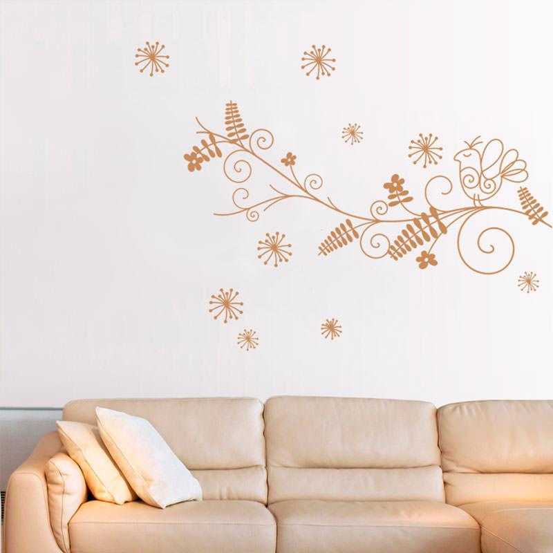 Adesivo Decorativo Galho e Pássaro Abstrato