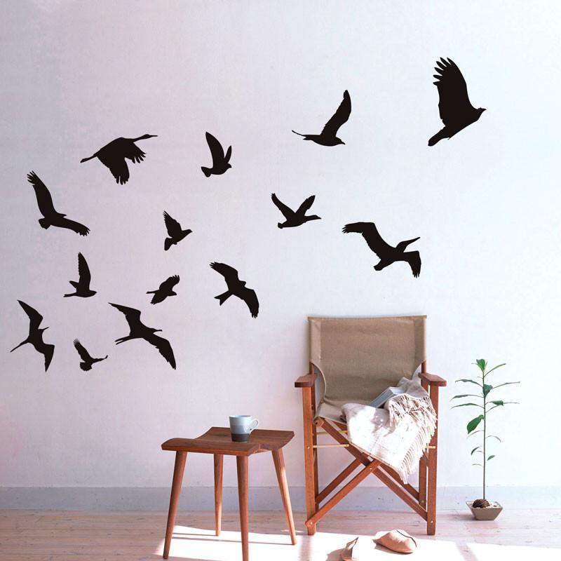 Adesivo de Parede Pássaros Silhuetas