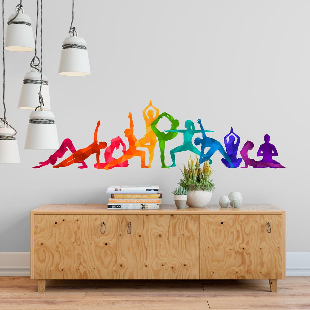 Adesivo de Parede Posições de Yoga (Colorido)
