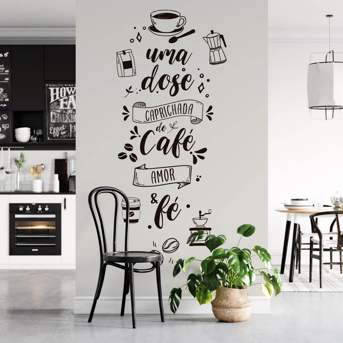 Adesivo de Parede Lettering Café