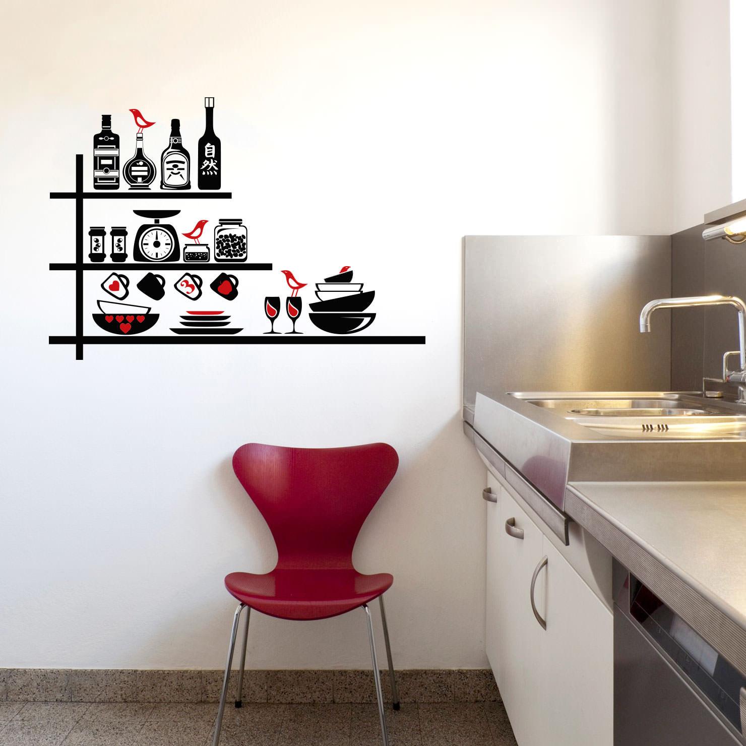 Aparador Espelhado Bronze ~ Adesivo de Parede Utensílios de Cozinha bemColar