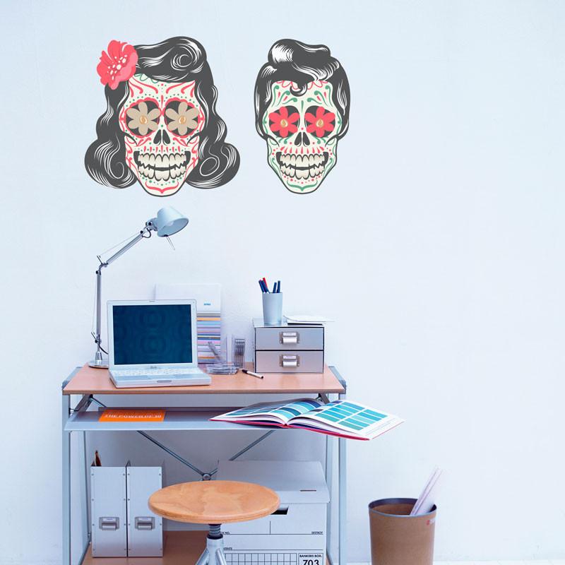Adesivo Decorativo Casal Caveira Mexicana