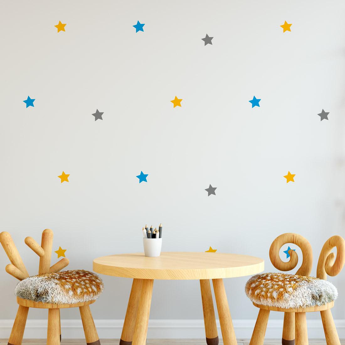 Adesivo de Parede Kit de Estrelas ( 3 cores )